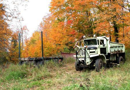 Old dump truck in the junk yard  photo