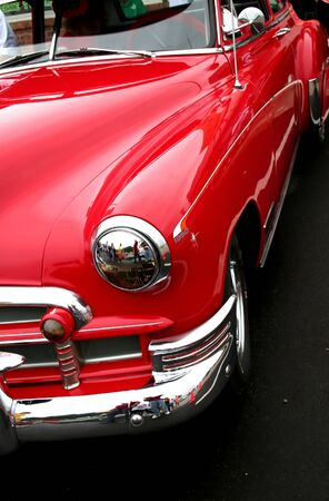 red classic car on woodward dream cruise show Editorial