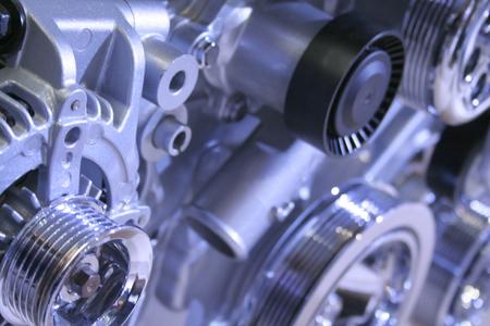 alternator: Details of sports car engine in blue color tone