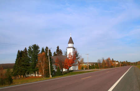 country church: church on road side in michigans upper peninsula