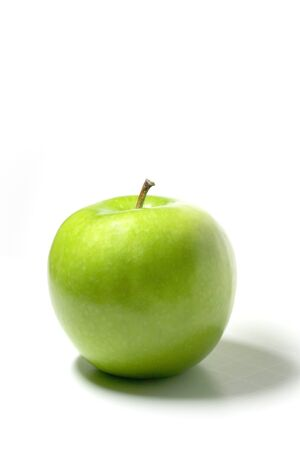 Close up shot of Green apple on white background Stock Photo