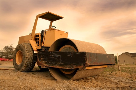 sand quarry: Construction equipment with colourful sky background wide angle