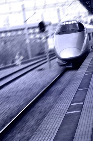 High speed bullet train in Japan in purple color tone