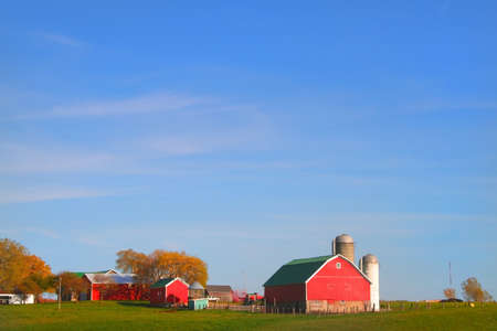 country store: Red barn and farm wide angle photo Stock Photo