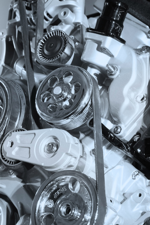 combustion: Internal combustion engine belt drive in auto show