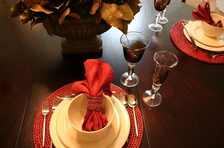 set up: Beautiful dining table set up with glasses