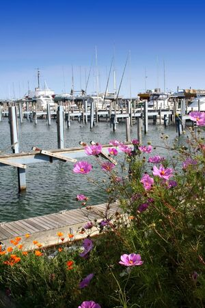 mackinac: mackinac city marina on lake huron shore in michigan