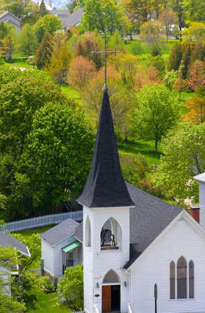 mackinac: Aerial view of church on a mackinac island during spring time