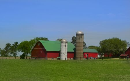 country store: Red barn and farm house wide angle photo Stock Photo