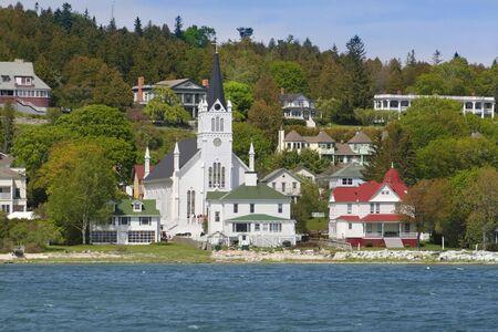 inlet bay: church in Mackinac island Michigan shot from boat