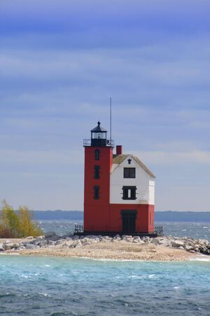 huron: Historic light house at Round island in the middle of lake Huron Stock Photo