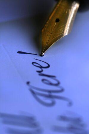 nib: Antique pen nib writing text concept -macro shot