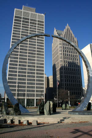 wideview: Arch and comerica tower in detroit downtown Stock Photo