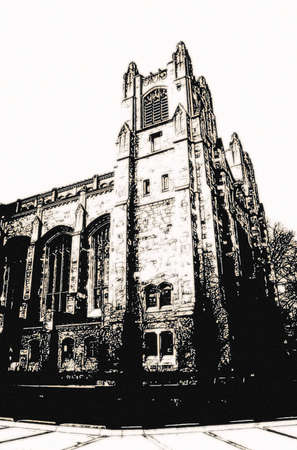 university building grunge style graphic in black and white Stock Photo