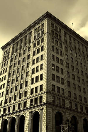 wideview: Beautiful historic building in sepia color tone