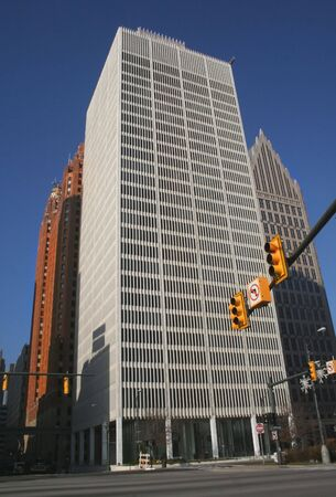 wideview: skyscrapers in downtown detroit with blue sky background