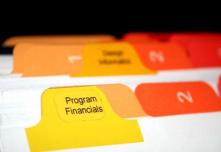 financials: program financials tabs in a bussiness folder Stock Photo