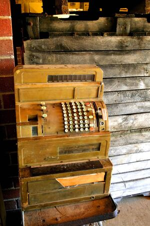 Vintage cash counting machine in a historic house