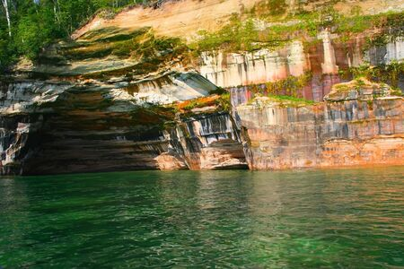 pictured: Rainbow Cave At Pictured Rocks