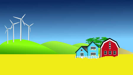 canola: Wind Mills And Canola Field Stock Photo