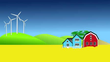canola: Wind Mills And Canola Field Stock Photo