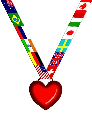pendent: Garland Made With Flags And Heart Pendent Stock Photo