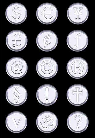 japanesse: Metallic Button Stock Photo