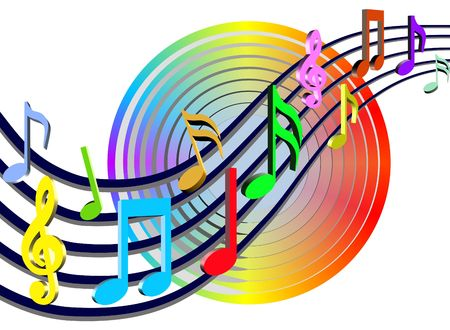 musical score: Colorful Music Notes Illustration