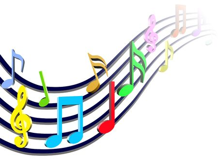 sheet music: Colorful Music Notes Illustration