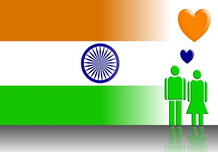 happy couple: Indian Flag And Valentine Couple
