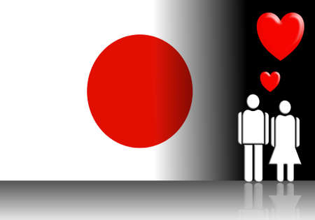 abstract of japanese flag and valentine couple photo