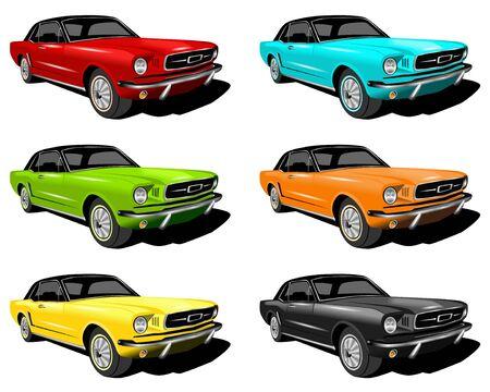 異なる色の車