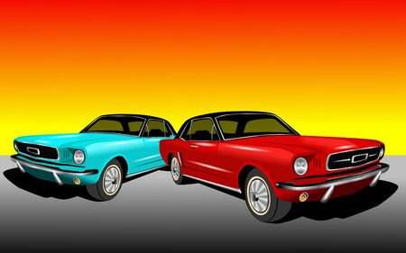 red and blue cars photo