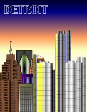 detroit: Detroit Downtown Illustration