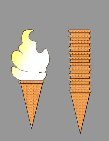 Ice Cream & Stacked Cones Stok Fotoğraf
