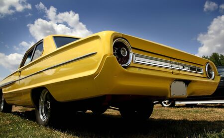 street rod: Yellow Vintage Car