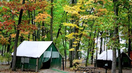 fallcolours: Cabins In The Middle Of Colorful Trees