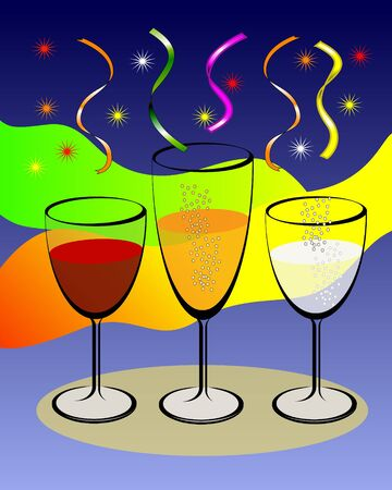 Wine Glasses With Colorful Background