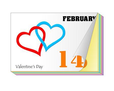 almanac: Valentines Day Calender Stock Photo