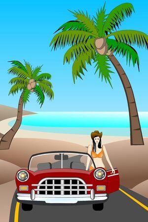 Classic Car At The Beach