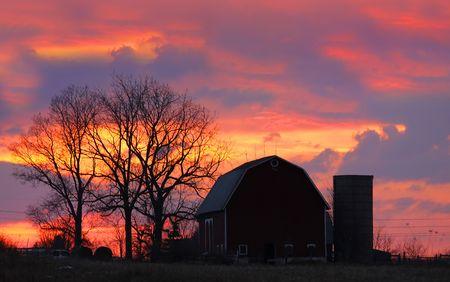 red evening: Farm Landscape Stock Photo