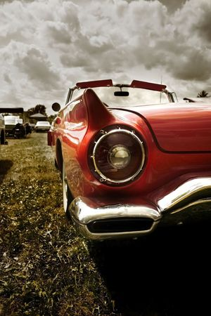 light show: Red Classic Car