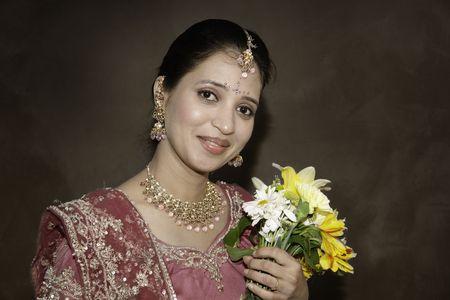costume jewelry: Beautiful Indian Bride Stock Photo