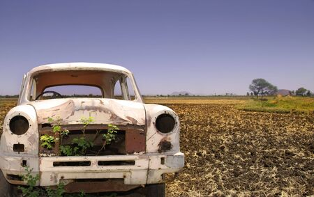 Old Car In The Empty Land Stock Photo - 5350128
