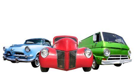 Drie Classic Cars Stockfoto