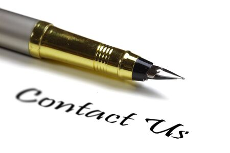 Fountain pen and contact us text on white background