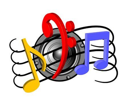 Luidspreker en muziek noten  Stockfoto