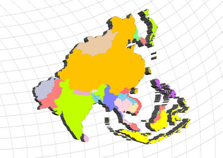 malaisia: 3D map of Asia