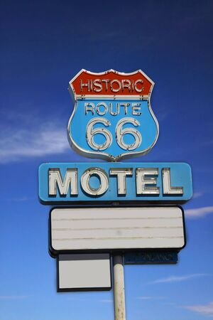 old sign: Route 66 road sign Stock Photo