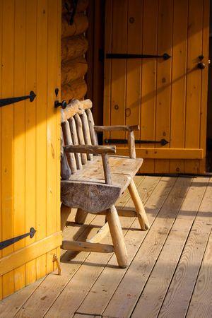 portico: Log cabin portico Stock Photo